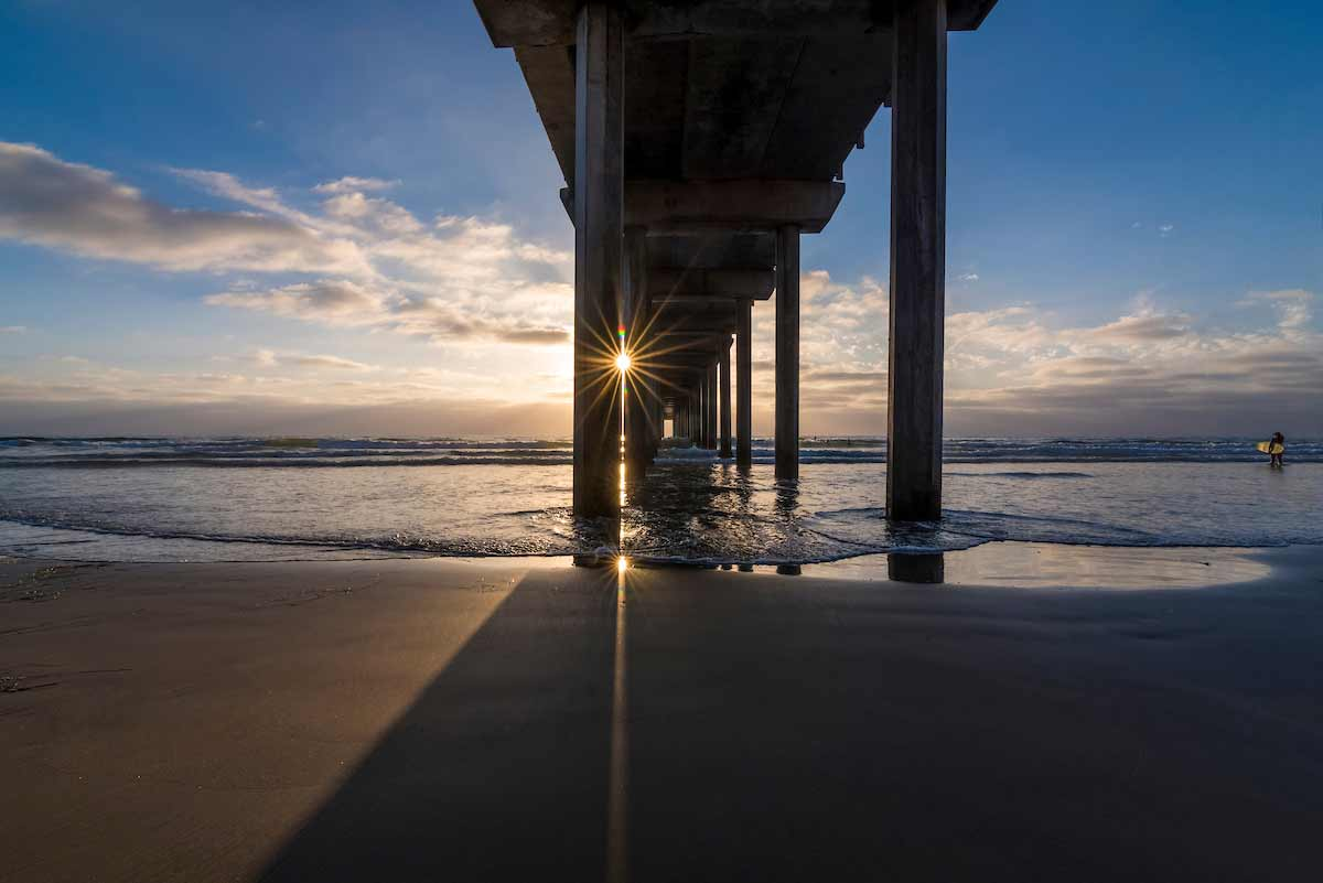 sunset at ucsd pier